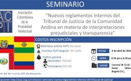 """Invitación """"Nuevos reglamentos internos del Tribunal de Justicia de la Comunidad Andina en materia de interpretaciones prejudiciales y transparencia"""""""